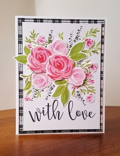 The colors at the Color Throwdown Challenge this week were so pretty, just had to play.olive green, hot pink, and black! I got a ne. Altenew Cards, Stampin Up Cards, Scrapbooking, Scrapbook Cards, Mothers Day Cards, Card Making Inspiration, Flower Cards, Cute Cards, Creative Cards
