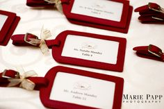 travel theme - luggage tags as favors / place cards