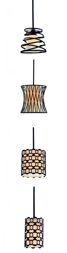 If you are not a fan of a boring industrial style pendant light which is typical of a bell shape glass shade, those modern style lighting fixture has more to say with the double metal corkscrew pins in bronze painting.