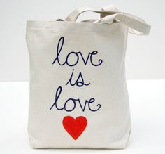 Love is Love Canvas Tote Bag.  Red Heart with Plum Love is Love Text. Reusable Bag. Anniversary, wedding or gay pride gift. Book Bag.
