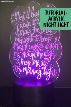 Step by step tutorial to design an acrylic LED night light (nightlight) using Silhouette Studio and Glowforge laser cutter. Laser Cutter Ideas, Laser Cutter Projects, Engraving Tools, Laser Engraving, Engraving Ideas, 3d Laser Printer, Silhouette Curio, Laser Cut Acrylic, Acrylic Laser Cutter
