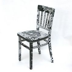 decoupaged black and white chair by viva fabric ($200-500) - Svpply