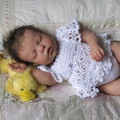 Newborn Baby Crochet Lace Dress in White Cotton by MaisondeTerre, $40.00