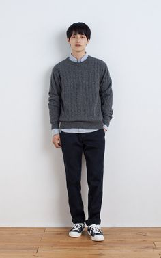 MUJI | MERINO WOOL CABLE KNITTED MIDDLE GAUGE SWEATER | ORGANIC COTTON OXFORD BUTTON DOWN SHIRT | WEST POINT CLOTH TROUSERS | WATER REPELLENT ORGANIC COTTON SNEAKERS