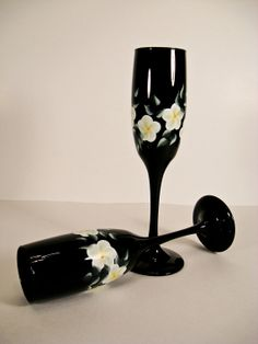 Black  Hand Painted Champagne Glasses by Allthatglass1 on Etsy, $22.00