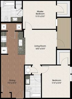 Luxury Apartment Floor Plans | Chenal Pointe, Little Rock AR Large 2 Bedroom/2Bath 1103 sq. ft.