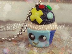 """Handmade Fimo Polymer Clay BMO Adventure Time Inspired Cupcake Charm , Kawaii Jewelry , 18"""" Stainless Steel Ball Chain Necklace"""