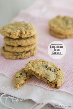 Basketball Team Cookies...A perfect cookie for the cookie jar, these cookies are filled with peanut butter, oats and chocolate chips.