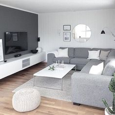 Get your own private Christmas wonderland, this Winter. | Modern Minimalist Living Room, Modern Tv Room, Modern Lounge, Sofa Bed Living Room, Ikea Living Room, Living Room Kitchen, Living Room Decor Grey And White, Grey Room Decor, White Rooms