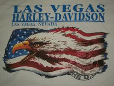 Harley Davidson Las Vegas HD Men's White T-shirt M American Flag Eagle Freedom #WeAre #HarleyDavidson #GraphicTee