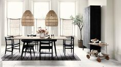 White Modern Dining Room with Open-weave Pendants and Wood Table
