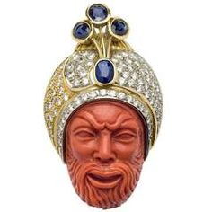 Carved Coral, Diamond and Sapphire Maharaja Brooch Antique Brooches, Gold Brooches, Amethyst Quartz, Amethyst Gemstone, Coral Jewelry, Diamond Jewelry, Sarotti Mohr, Art Carved, Art Deco Jewelry