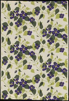 Clematis furnishing fabric, by Mary Harper. Carlisle, England, 1960. EDITORIAL USE ONLY