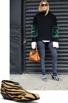 15 Styling Tricks to Steal from NYC's Street Style Masters: Eye-catching footwear is essentially paparazzi gold. A bold print and/or an unusual shape will always get you noticed. Coach Bandit Zip Shoe, $445, coach.com