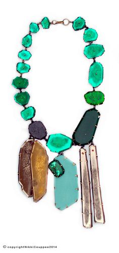 Nikki Couppee jewelry, emerald necklace, plexiglass, brass, found object.