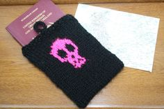 Passport case cover cover Neon pink skull motif by sweetygreetings, £4.99