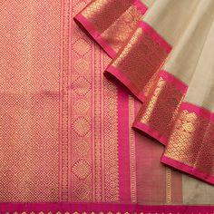 Pink n off-white Kanjipuram Saree, Pink Saree, Indian Dresses, Indian Outfits, Indian Attire, Indian Wear, Traditional Sarees, Traditional Art, Indian Sarees