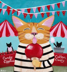 The Candy Apple Festival - Original Cat Folk Art Painting by KilkennycatArt
