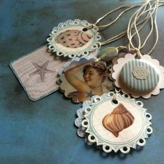 Cute! SET OF 5 Gift Tags Bookmarks Wine Bottle Tags Beachy by bittybaby, $5.25