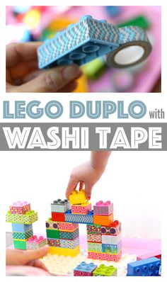 Transform your old Lego Duplo blocks with some washi tape. These washi tape lego duplo blocks are colorful and can be used for matching patterns!
