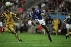 France 1 Romania 0 in 1996 at St James Park. Marcel Desailly gives it the big boot clearance in Group B at Euro '96.