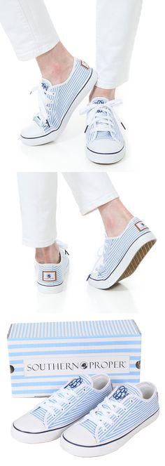 Monogrammed Lace Up Sneakers by Southern Proper #monogrammed #seersucker