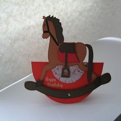 Handmade Birthday Card £4.35. A gift idea by Nicky King found on www.MyOwnCreation.co.uk: This stunning Shaped Birthday Card has been created as a Rocking Horse that Rocks from side to side.The Inside has been left blank for you to write your own special message.Supplied with an Envelope and packaged in a cello bag.