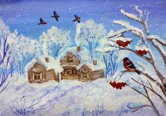 Как нарисовать зимний пейзаж гуашью поэтапно для детей