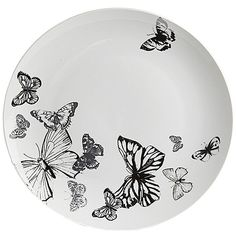 Beautiful porcelain dining range, with detailed butterfly design in a silver finish and wrapped in a gift box.