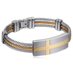 Attraversare - Stainless Steel Silver or Gold Tone Bracelet Men