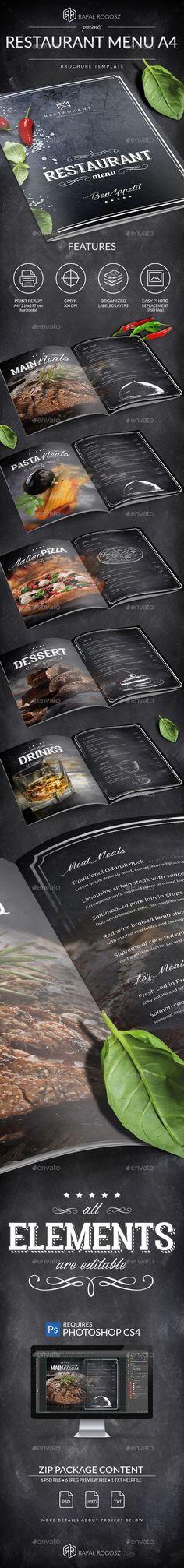 Blackboard Luxury Restaurant Menu A4 — Photoshop PSD #black #table tent • Download ➝ https://graphicriver.net/item/blackboard-luxury-restaurant-menu-a4/19681100?ref=pxcr