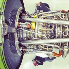 The view from above - technicians working on a GE90 #engine at #GE #Aviation in Peebles, OH. #technology #manufacturing  #avgeek (Taken with Instagram)