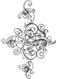 VINES FLORAL ORCHID FOLIAGE FLOWERS LEAVES SWIRLS VINTAGE SIDE BORDER ...