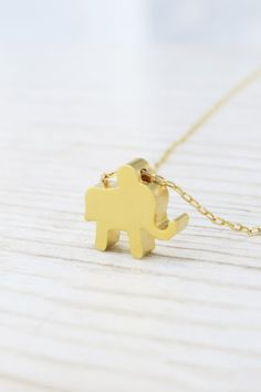 Gold necklace Gold elephant necklace Goldfilled by HLcollection, $28.00