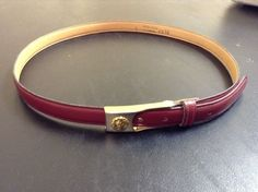 Vintage ANNE KLEIN for CALDERON Skinny Red Leather Belt with Gold Buckle #AnneKlein