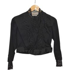 A wonderful Victorian Ladies Jacket/Top. France, Black fabric trimmed with lace. Wonderful condition, no tears or holes, strong fabric. Size: XS, Length: Sleeve Length: Weight: Item ID: Victorian Life, Victorian Women, Black Fabric, Jackets For Women, Vintage Fashion, Somerset, Lace, Sweaters, Shopping