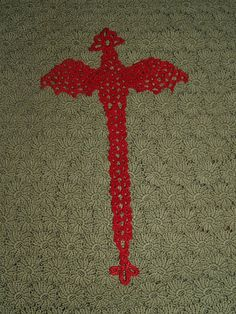 Crochet Dragon Bookmark or Motif by vjf25 on Etsy, $2.25