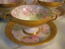 FRENCH ROSES ~ Elegant Gilded Antique Limoges France Footed Bouillon Cup & Saucer Hand Painted Vintage Victorian Floral Art China Painting Artwork Old European Porcelain 19th Century American Artist Signed Jean Pouyat Circa 1900's