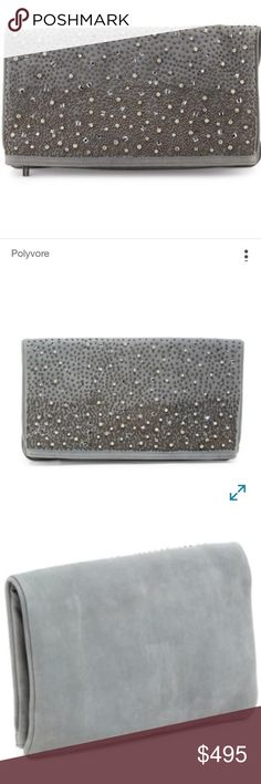 "alice + olivia Rhinestone Waterfall Me Clutch NWT Love it or list it?!  Please help me decide!  -           Alice + olivia - me embellished leather fold-over clutch - a striking gradation of miniature beads and lustrous stones defines this flap silhouette of rich leather, a stylish choice for both day and evening. Zip top closure. Exterior features 1 zip wall pocket and 1 top zip pocket with tacked mirror. Interior features 1 zip pocket and 2 slip pockets - Dust bag included. Approx. 7-13"" H…"