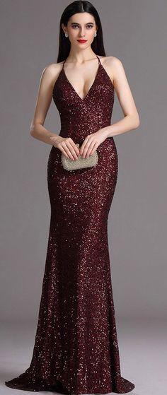 eDressit Spaghetti Halter V Neck Burgundy Sequins Prom Dress