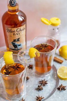 This hot toddy recipe is the perfect warm cocktail to fight off the winter blues. Add the rum and honey to a mug. Top with hot water and give it a good stir, to dissolve the honey. Then top with lemon juice. Serve garnished with a lemon rind or wedge, optional. #bluechairbay #BCBHappyHour #spicedrum