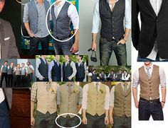 inspiration for the groom and his men.  i like the circled jeans and the circled vest/tie/shirt combo.  i want them to be in nice, fitted vests.  theres nothing i hate more than a baggy vest!!  then honey in a jacket that matches his vest.  lets see if he goes for it.