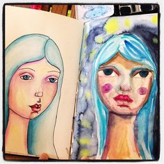 Actually start enjoying myself when I stop following 'the rules'. The left one has a pretty-ness but I didn't experience any joy while painting her. The right one has a rawness and she just emerged with ease. Which one do you like? #watercolour #schmincke #artjournal #intuitiveart #irisimpressionsart