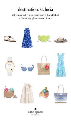 a tropical wardrobe fit for a summer vacation in st. lucia calls for breezy printed sundresses, an oversized sunhat, cheeky cocktail-inpsired accessories, a pretty blouse, flat sandals, totes for the beach and beyond, and shades (of course). click to shop the look.