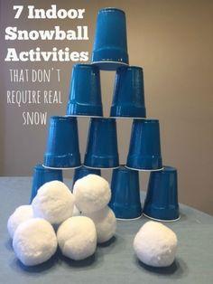 7 Indoor Snowball Activities -- What great ideas for no snow snowballs! # indoor activities for 7 year olds 7 Indoor Snowball Games & Activities (NO SNOW NEEDED)