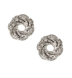 Rhodium Coiled Stud Earrings