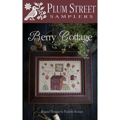 Berry Cottage. Gráfico de punto de cruz de Plum Street Sampler en www.lacasinaroja.com