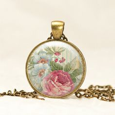 Shabby Chic Pink Rose & Blue Flowers Glass by prideandpendants