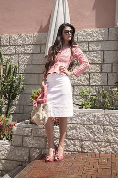 "Discover joyful summer outfits for classy women. The collection ""Spring Flowers in Procida"" offers casual as formal wear and is inspired by the riviera style. Coral Blouse, Classy Women, White Skirts, Resort Wear, Formal Wear, Summer Collection, Editorial Fashion, Lace Skirt, Summer Outfits"