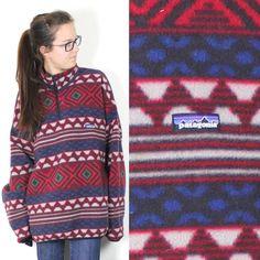 Vintage Retro Patagonia Aztec Boho Navajo Patterned Fleece Pullover Size XL on Etsy, $194.00